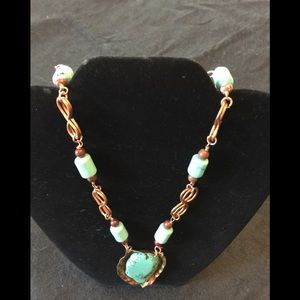 "Turquoise and copper hand crafted 22"" necklace"